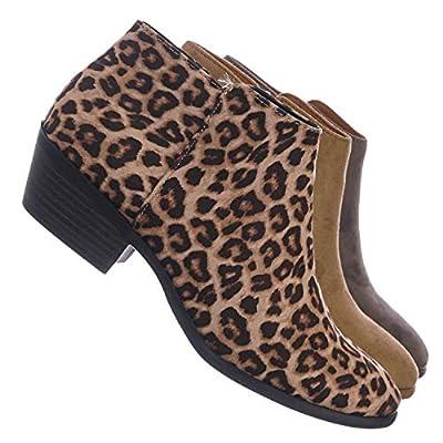 Western Low Chunky Block Heel Bootie - Women Ankle Boots w Stack Heel