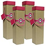 Gift Box, Sancerre Pink Wine Box, Set of 4pcs Wine Gift Box, EZ Wine Caddy. Easy to Assemble and No Glue Required. Comes with Ribbon and Gift Tag. EZ Wine Gift Box By Endless Art US.