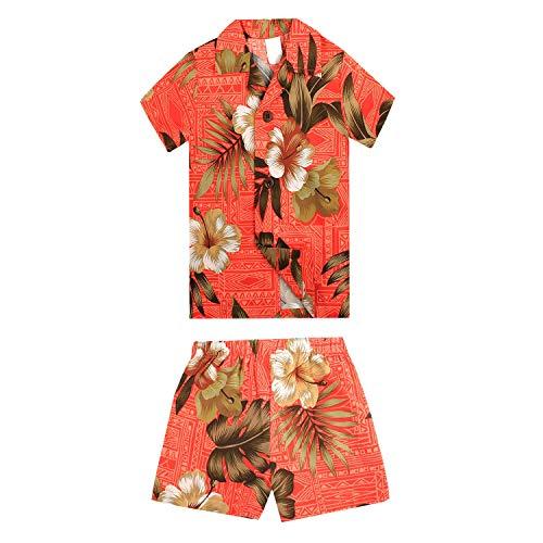 Boy Hawaiian Aloha Luau Shirt and Shorts 2 Piece Cabana Set in Orange Floral 2