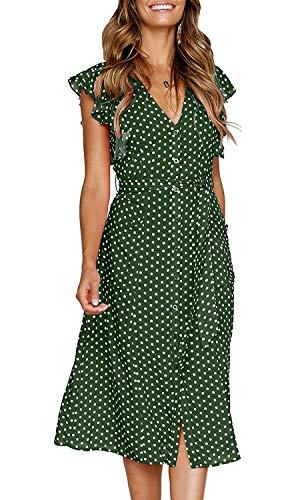 OURS Women's Polka Dot Midi Dresses Sleeveless V Neck Summer Beach Dress Pockets (Green, L) - Green Polka Dot Skirt