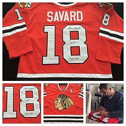 7bb90c2154b Denis Savard Chicago Blackhawks Signed Autograph Red Jersey  18 JSA ...