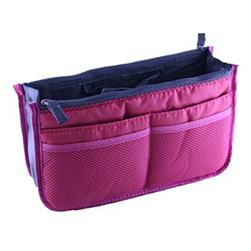 Fashion Bag-In-Bag Multifunctional Organiser Purse Large Liner Organizer Bag Tidy Travel Handbag (Purple)