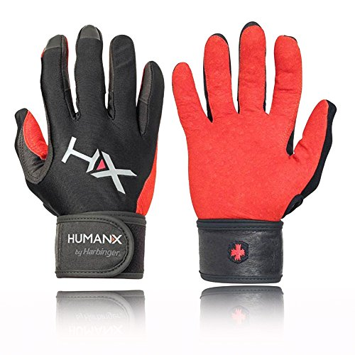HumanX Men's X3 Competition Full Finger Wrist Wrap Gloves, Red/Black, Medium