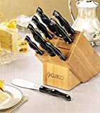 "Cheap CUTCO Model 2001 Homemaker Set…………10 High Carbon Stainless knives & forks with Classic Dark Brown (""Black"") handles in factory-sealed plastic bags…………#1741 Honey Oak knife block, #82 Sharpener, and 10″ x 13″ Poly Prep cutting board also included."