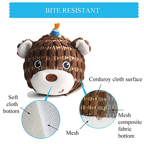 AXEN Round Face Series Dog Toys, Bear Shape, Cute and Squeaky, Brown Bear