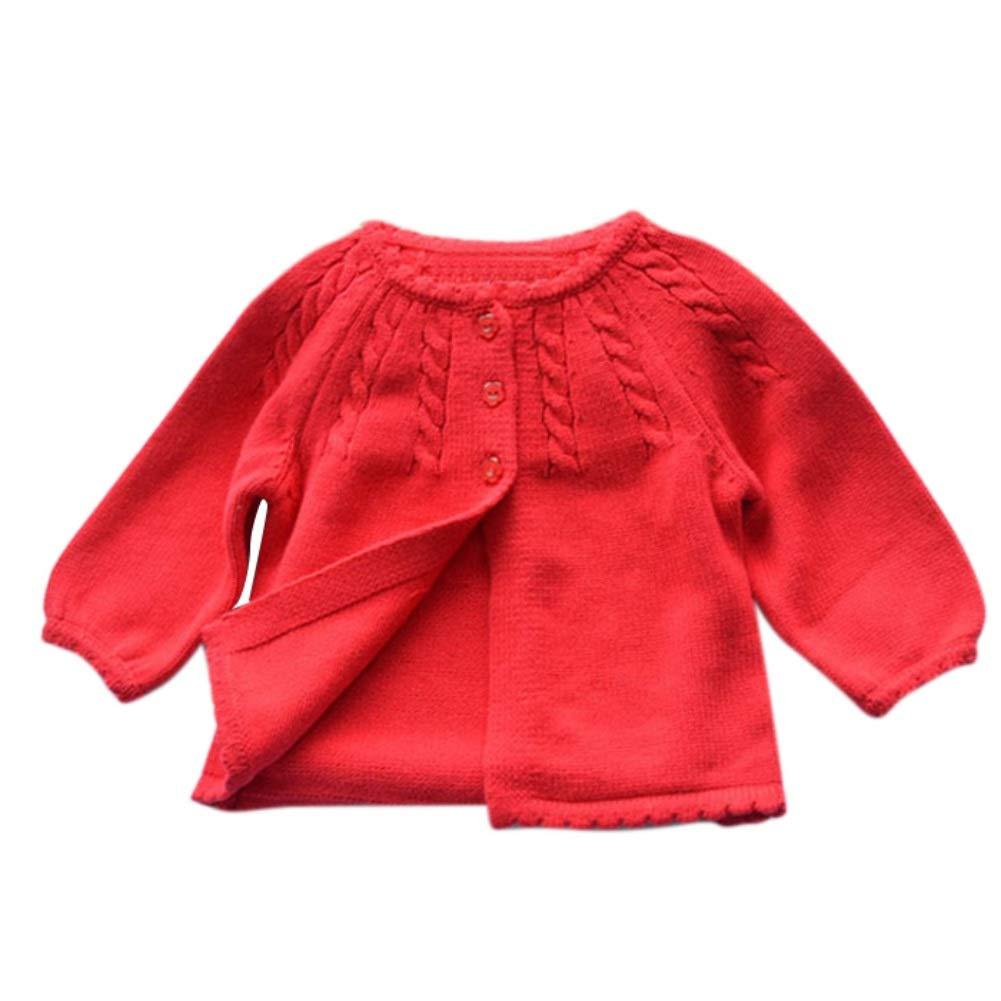 BOBORA Baby Girls Boys Winter Knitted Cardigan Jacket Coats Long Sleeve Knitwear for 3-24Months