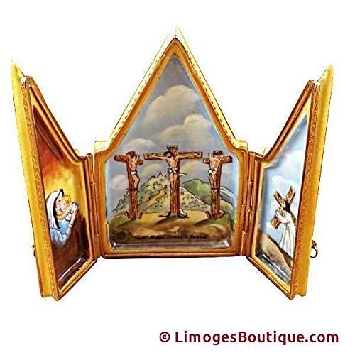 TRIPTYCH CRUCIFIX - LIMOGES BOX AUTHENTIC PORCELAIN FIGURINE FROM FRANCE