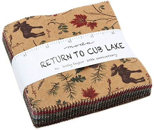 Return to Cub Lake Flannels Charm Pack by Holly Taylor; 42-5 inch Precut Fabric Quilt ()