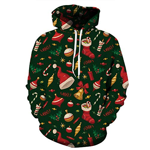 ミュートスイオセアニアクリスマス パーカー メンズ ペアルック Kukoyo 秋冬 3dプリント サンタクロース クリスマス ツリー 総柄 長袖 スウェット フード付き 上着 リアル 創意デザイン 個性的 かっこいい ヒップホップ 男女兼用 体型カバー トレーナー パーティー