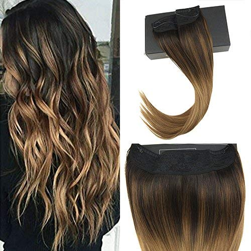 (Sunny 20inch Remy Halo Extensions Human Hair Balayage Ombre Darkest Brown fading to Medium Brown with Caramel Blonde Invisible Wire Hair Extensions Real Hair)