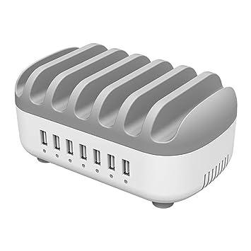 ORICO 70W Estación de Carga USB con 7 Puertos, USB Multi-Cargador Universal 2.4A Cargador Integrado IC Rápido para El iPhone iPad Smartphones Tabletas ...