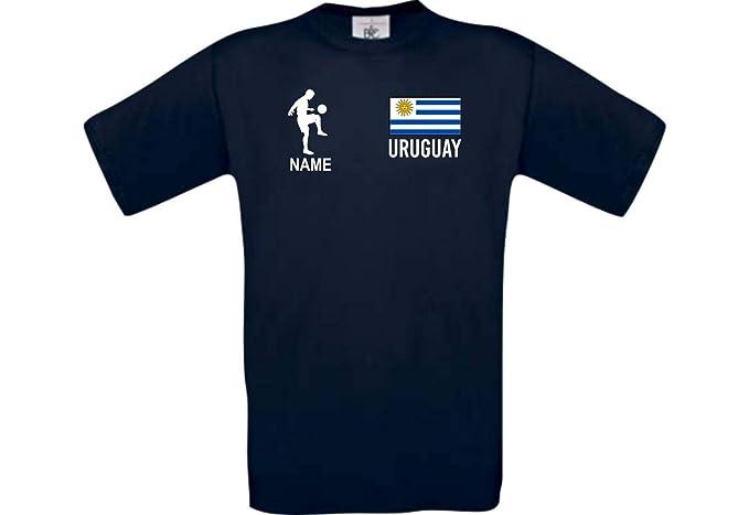Shirtstown Camiseta De Hombres Camiseta de Fútbol Uruguay con Su Nombre Deseado Estampado - Azul Marino