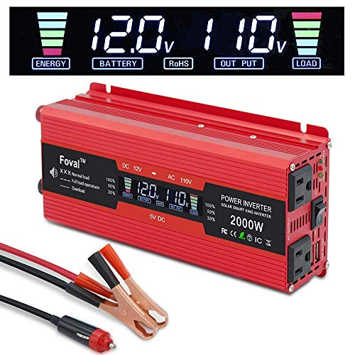 Yinleader Car Power Inverter 1000W/2000W(Peak) DC 12V to 110V AC Converter with Intelligent LCD Display Dual AC Outlets Dual USB Charger for RV Caravan Truck Laptop(Red) ()