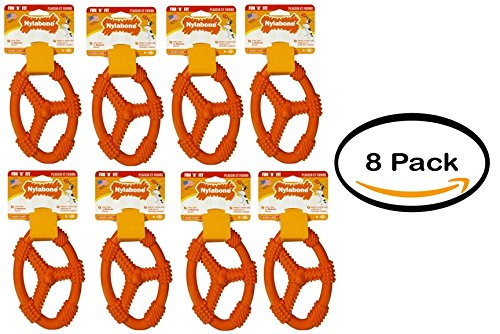Pack of 8 - Nylabone Fun 'N Fit Flexible Oval Ring, Medium by Nylabone