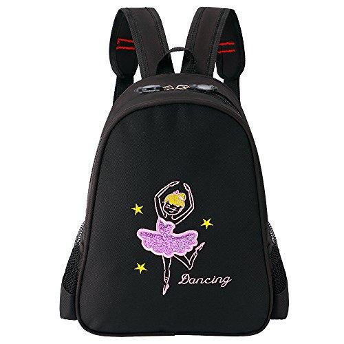 BAOHULU Toddler Backpack Ballet Dance Bag 9 Colors for Girls 2-8 Year (Black)