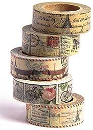 Washi Tape (Japanese Masking Tape) by MIKOKA, 0.6 Inches Wide, 32.8 Feet Long, Set of 5 - Antique Bright