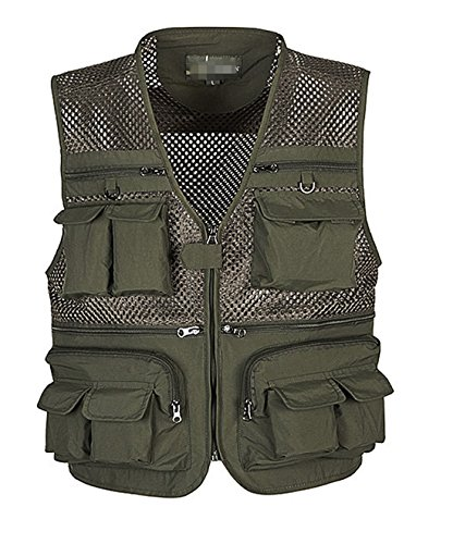 Gihuo Men's Summer Cotton Leisure Outdoor Pockets Fish Photo Journalist Vest Plus Size (Small, Army Green-mesh) by Gihuo
