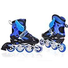 A Point Adjustable Inline Skates for Kids, Safe and Durable Rollerblades, Perfect for Boys and Girls (blue, S(16.5-20cm))