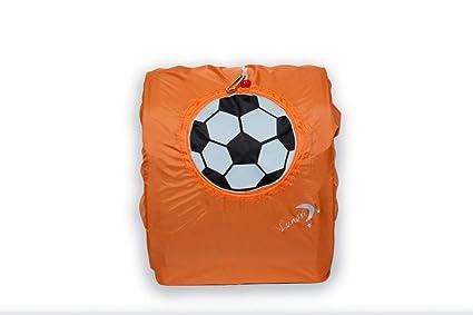 LUNARI Mochila Escolar de la Lluvia de protección 4 Gotas de fútbol, Colour Negro/
