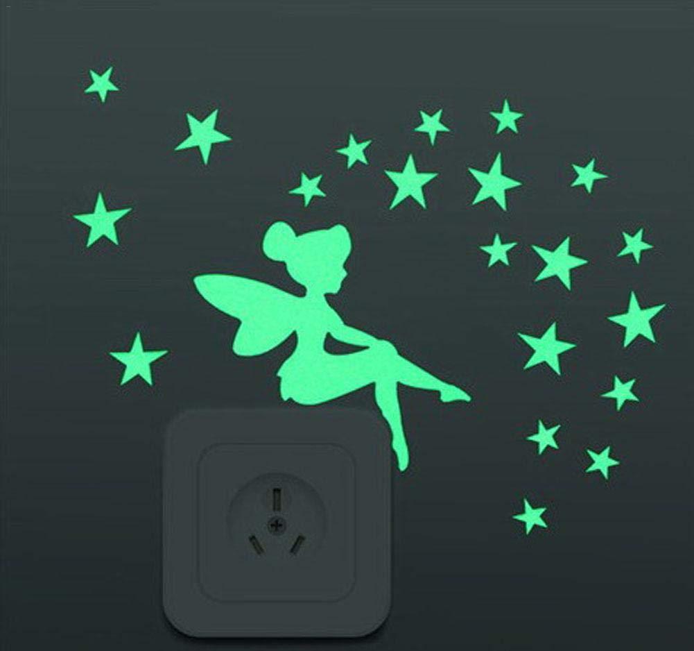 Autocollants lumineux sticker mural pour interrupteurs ou prises de lumière, autocollant nuit fluorescentes fée étoile, convient aux chambres d'enfants poetryer