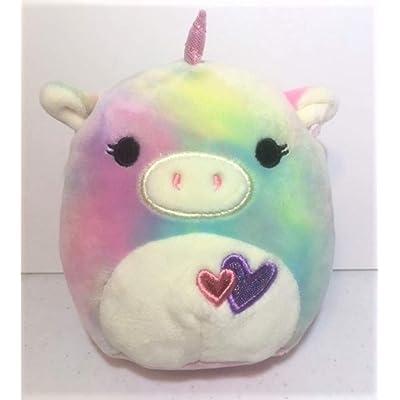 Squishmallows Kellytoy 5 Inch Esmeralda The Tie Dye Unicorn with Hearts Plush Pillow Pet: Toys & Games