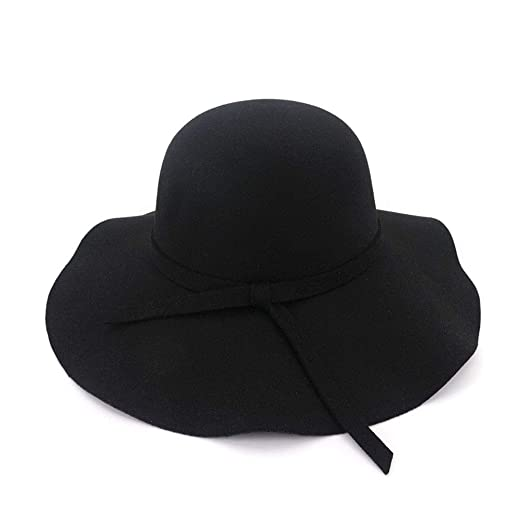 f808d8c7eff HEHGU Women s Felt Floppy Hat Vintage Warm Hats Wide Brimmed Wool Beach Cap  at Amazon Men s Clothing store