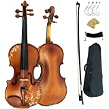 Leeche Solidwood Ebony Fitted Antique Violin Full Size 4/4 Gift Ideas for Beginner Kids Adults With Case, Bow, Shoulder Rest, Strings, Rosin, Bridge
