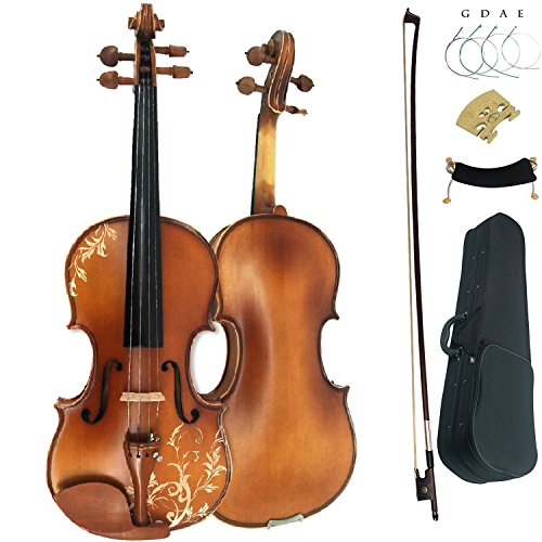 Leeche Solidwood Ebony Fitted Antique Violin Full Size 4/4 Gift Ideas for Beginner Kids Adults With Case, Bow, Shoulder Rest, Strings, Rosin, Bridge by Leeche