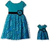 dollie me clothing - Dollie & Me Big Girls' Sparkle Party Dress With Matching Doll Outfit, Teal/Multi, 7