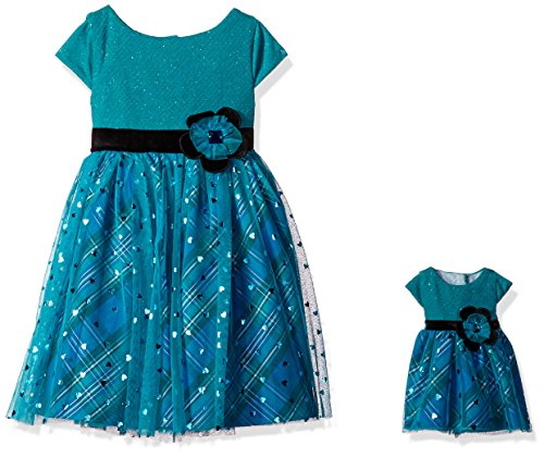Dollie & Me Big Girls' Sparkle Party Dress With Matching Doll Outfit, Teal/Multi, 7 -
