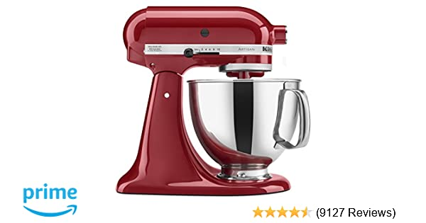 kitchenaid mixer reviews professional vs artisan amazoncom kitchenaid ksm150pser artisan tilthead stand mixer with pouring shield 5quart empire red electric mixers kitchen dining
