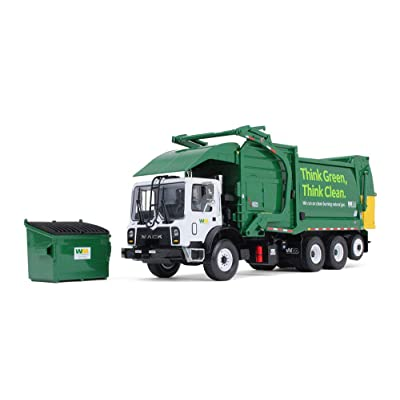 First Gear 1/34 Scale Diecast Collectible Waste Management Mack TerraPro with CNG Front Loader with Trash Bin (#10-4006): Toys & Games