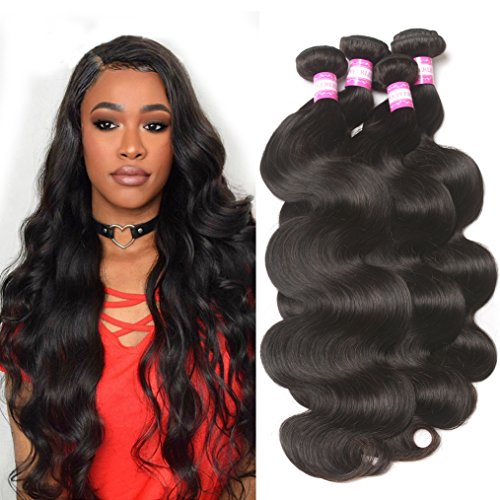 Brazilian Human Hair Body Wave Bundles 16 18 20 22 Unprocessed 9A Brazilian Virgin Human Hair Weft Body Wave Remy Hair Weave Bundles Natural ()