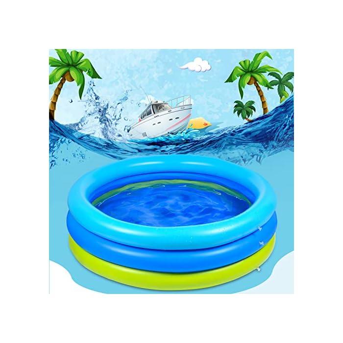 51WFtjhYwXL 🌴【Piscina de verano para remar】 De color azul verdoso, refrescante y simple, ¡esta piscina te puede recordar instantáneamente el mar, el agua, los árboles, el color del verano! 🌴【Diversión segura en el agua】 No es necesario salir al exterior para refrescarse, solo disfrute del agua fresca en la piscina inflable en la terraza o en el jardín. Nuestra piscina garantiza que los niños jueguen en el agua sin riesgo. 🌴【Más resistente】 Material de PVC duradero adoptado, esta piscina para niños es más gruesa que otras, puede permanecer más tiempo en verano. Parche incluido para daños accidentales.