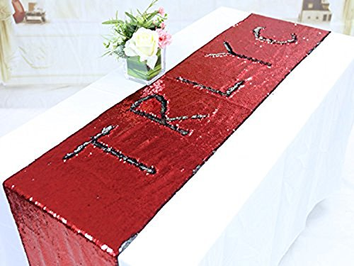 TRLYC 12 by 60-Inch Red and Silver Two Color Change Mermaid Sequin Table Runners for Baby - Red Silver