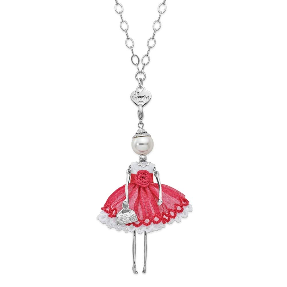 Jewels By Lux Le Amiche Silver-Tone Swar Sim.Pearl Red Rose Doll Charm w/Chain