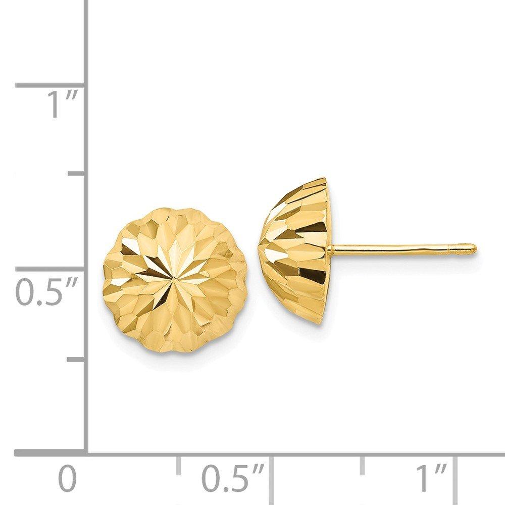 14K Yellow Gold Diamond-cut 10mm Domed Post Earrings Hollow 9.5 mm 9.5 mm Button Earrings Jewelry