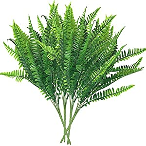 Bird Fiy 4Pcs Artificial Boston Fern Bush Plant Shrubs Greenery Bushes Indoor Outside Home Garden Office Verandah Wedding Decor 15