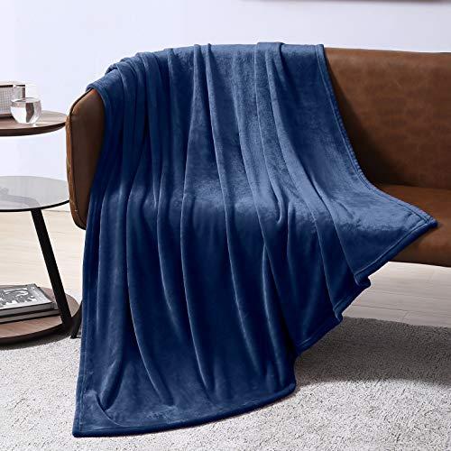 Amazon Com Exq Home Fleece Blanket Twin Size Navy Throw