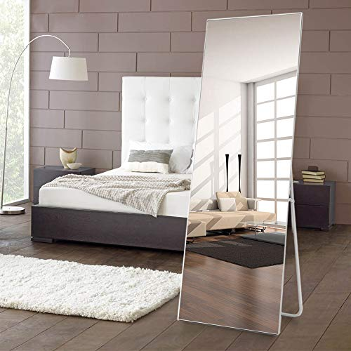 NeuType Full Length Mirror Standing Hanging or Leaning Against Wall, Large Rectangle Bedroom Mirror Floor Mirror Dressing Mirror Wall-Mounted Mirror, Aluminum Alloy Thin Frame, Silver, ()