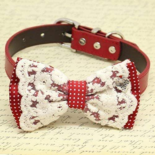4bafe57f57a8 Amazon.com: Red with Lace and Polka Dots Dog Bow Tie collar, Pet ...