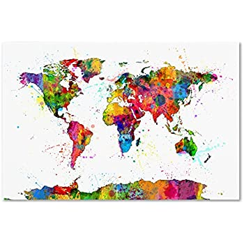 Amazon urban watercolor world map by michael tompsett 30x47 trademark fine art map of the world watercolor by michael tompsett 30x47 inch canvas wall art gumiabroncs Gallery