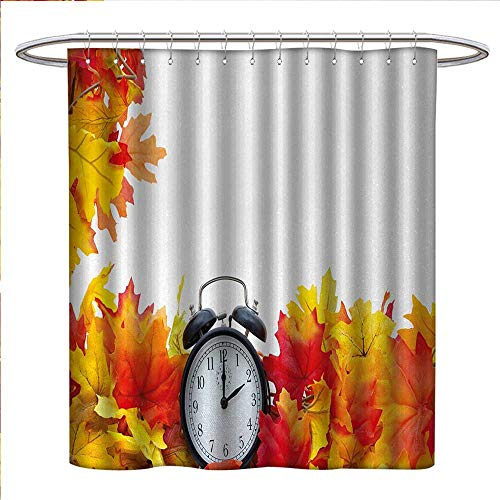 Anniutwo Clock Shower Curtains Sets Bathroom Autumnal Leaves and an Alarm Clock Fall Season Theme Romantic Digital Print Fabric Bathroom Decor Set with Hooks W36 x L72 White and Orange