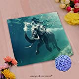 VROSELV Custom Cotton Microfiber Ultra Soft Hand Towel-swimming elephant underwater african elephant in ocean with mirrors and ripples at water surfa Custom pattern of household products(20''x20'')