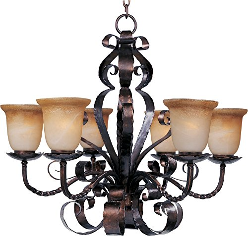 (Maxim 20607VAOI Aspen 6-Light Chandelier, Oil Rubbed Bronze Finish, Vintage Amber Glass, MB Incandescent Incandescent Bulb , 60W Max., Dry Safety Rating, Standard Dimmable, Opal Glass Shade Material, Rated Lumens)