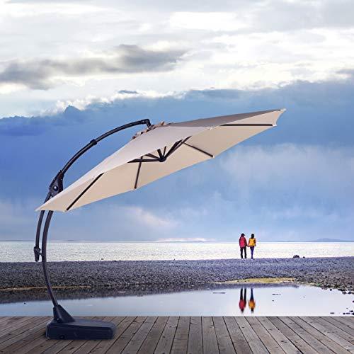 Cantilever Patio Umbrella - Grand Patio Napoli Deluxe 11 FT Curvy Aluminum Offset Umbrella, Patio Cantilever Umbrella with Base, Champagne
