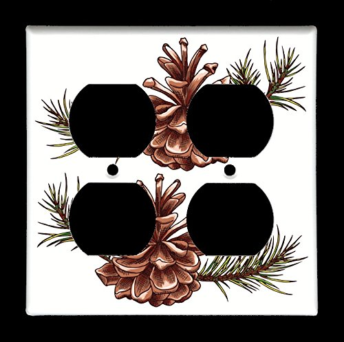 Double Outlet (4-plug) Light Switch Plate Cover - Trees - Tree Pine Cone ()