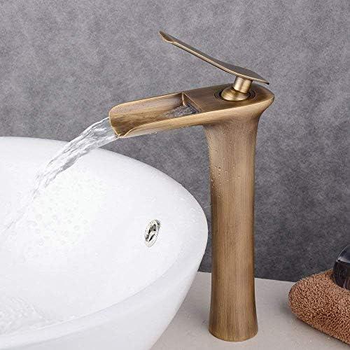 カウンタートップ滝流域の蛇口アンティーク真鍮浴室の蛇口ミキサー洗面台の蛇口