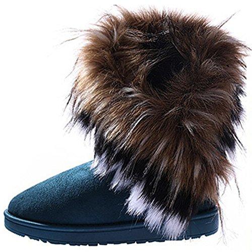 Fausse 2016 3 Avec Boots Bottine Fourr Daim Plat Chaud Couleur Chaussure Femme Fourrure Neige Mode CRAVOG Rfzdww