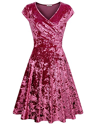 Velvet Soft Dress (SeSe Code Burgundy Velvet Dress, Women Wedding Cocktail Nursing Retro Travel Clothes Trendy Soft Pop Fashion Novelty Girly Beautiful Flattering Shirred Dresses Wine Red XXL)